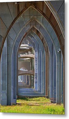Or, Newport, Yaquina Bay Bridge, Arches Metal Print by Jamie and Judy Wild