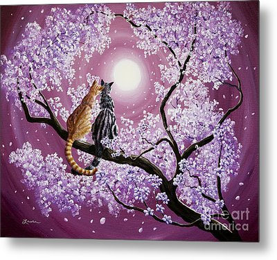 Orange And Gray Tabby Cats In Cherry Blossoms Metal Print by Laura Iverson