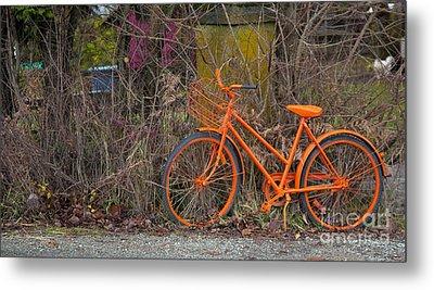 Orange Bike Metal Print by Graham Foulkes