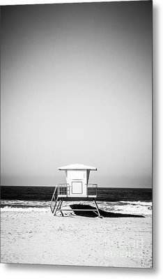 Orange County Lifeguard Tower Black And White Picture Metal Print by Paul Velgos