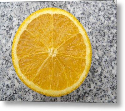 Orange Cut In Half Grey Background Metal Print by Matthias Hauser