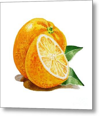 Artz Vitamins An Orange Metal Print by Irina Sztukowski