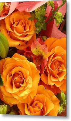 Orange Roses Metal Print by Amy Vangsgard