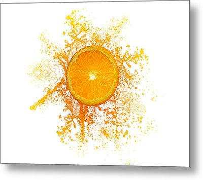 Orange Splash Metal Print by Aged Pixel