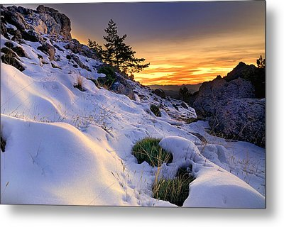 Orange Sunset At The Mountains Metal Print by Guido Montanes Castillo