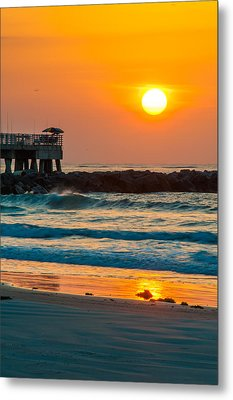 Orange Sunshine At Jetty Park Metal Print by Cliff C Morris Jr
