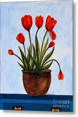 Orange Tulips On A Blue Buffet Metal Print by Barbara Griffin