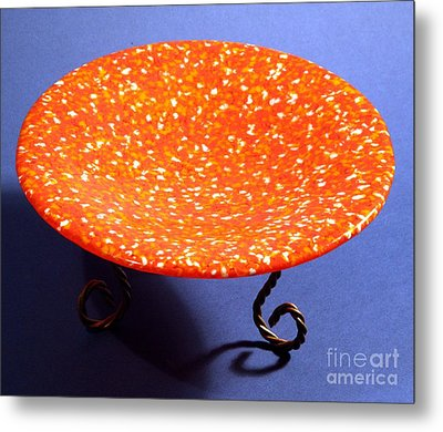 Orange Yellow And White Murrini Bowl With Stand Metal Print by P Russell