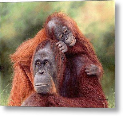 Orangutans Painting Metal Print by Rachel Stribbling