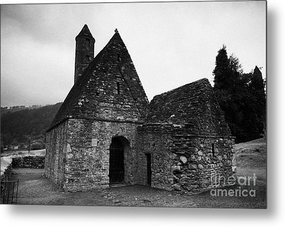 Oratory Known As St Kevins Kitchen Glendalough Monastery County Wicklow Republic Of Ireland Metal Print by Joe Fox