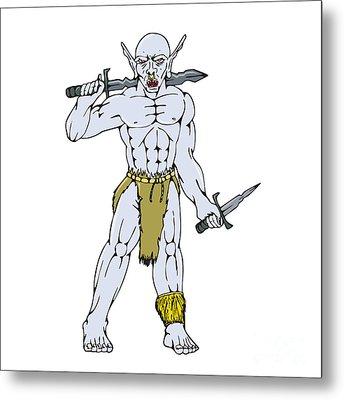 Orc Warrior Sword Dagger Cartoon Metal Print by Aloysius Patrimonio