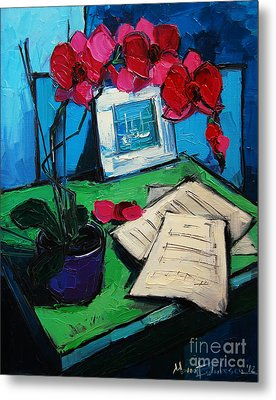 Orchid And Piano Sheets Metal Print by Mona Edulesco