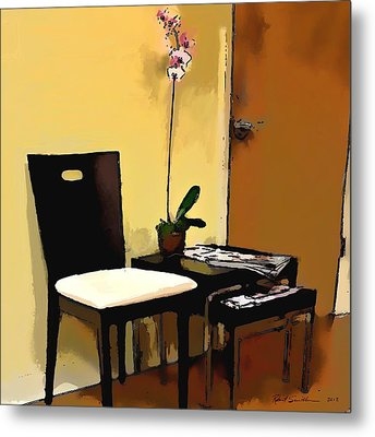 Orchid By A Chair Metal Print by Robert Smith
