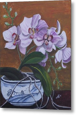 Orchid In Chinese Bowl Metal Print by Kim Selig