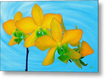 Orchid In Yellow Metal Print by Ben and Raisa Gertsberg