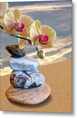 Orchids And Pebbles On Sand Metal Print by Gill Billington