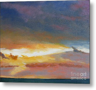 Oregon Coast Sunset Metal Print by Melody Cleary