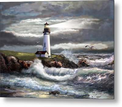 Oregon Lighthouse Beam Of Hope Metal Print by Regina Femrite