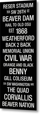 Oregon State College Town Wall Art Metal Print by Replay Photos