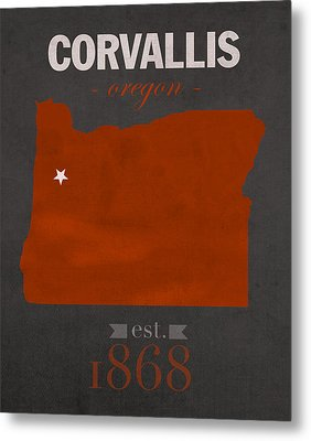 Oregon State University Beavers Corvallis College Town State Map Poster Series No 087 Metal Print by Design Turnpike