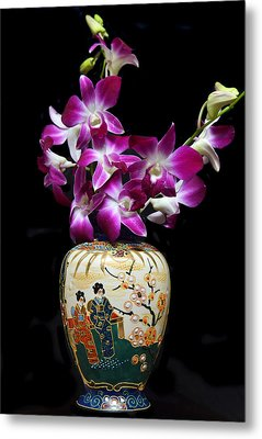 Oriental Orchids. Metal Print by Terence Davis