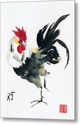 Oriental Rooster Metal Print by Sandy Linden
