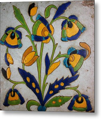 Oriental Tile Metal Print by Celestial Images