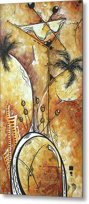 Original Abstract Cityscape And Martini Art Modern Las Vegas Painting The Spirit Of Vegas By Madart Metal Print by Megan Duncanson