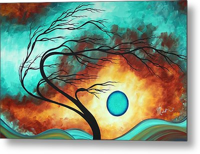 Original Bold Colorful Abstract Landscape Painting Family Joy I By Madart Metal Print by Megan Duncanson