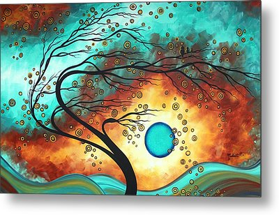 Original Bold Colorful Abstract Landscape Painting Family Joy II By Madart Metal Print by Megan Duncanson