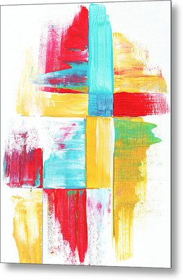 Original Bold Colorful Abstract Painting Patchwork By Madart Metal Print by Megan Duncanson