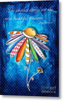 Original Hand Painted Daisy Quilt Painting Inspirational Art Quote By Megan Duncanson Metal Print by Megan Duncanson