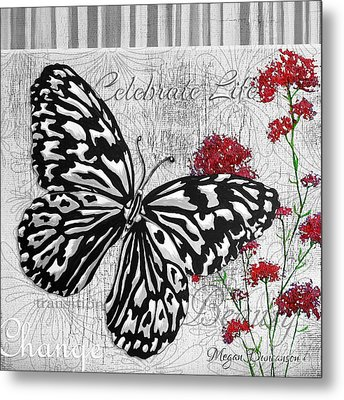 Original Inspirational Uplifting Butterfly Painting Celebrate Life Metal Print by Megan Duncanson