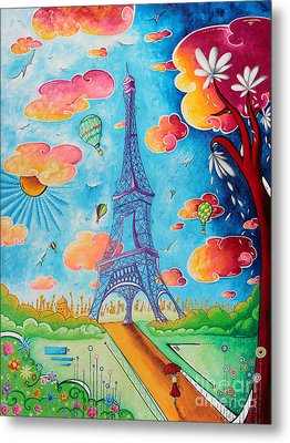 Original Paris Eiffel Tower Pop Art Style Painting Fun And Chic By Megan Duncanson Metal Print by Megan Duncanson