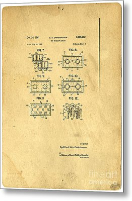 Original Patent For Lego Toy Building Brick Metal Print by Edward Fielding