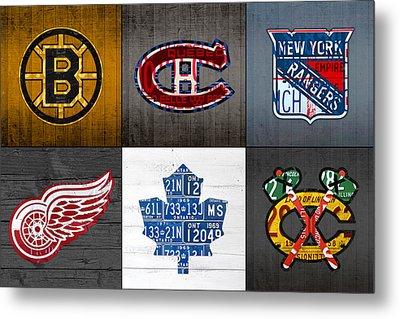 Original Six Hockey Team Retro Logo Vintage Recycled License Plate Art Metal Print by Design Turnpike