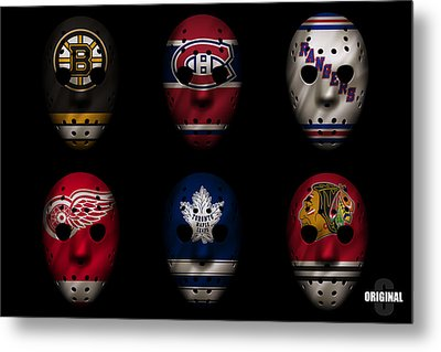 Original Six Jersey Mask Metal Print by Joe Hamilton