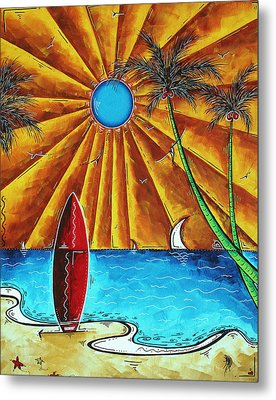 Original Tropical Surfing Whimsical Fun Painting Waiting For The Surf By Madart Metal Print by Megan Duncanson