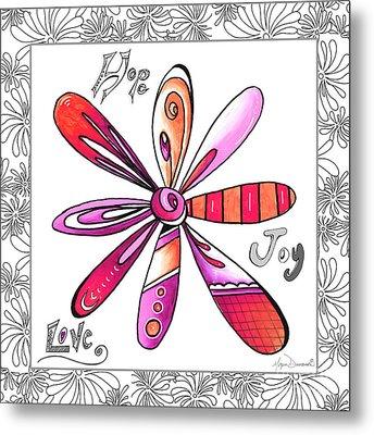 Original Uplifting Inspirational Flower Quote Typography Art By Megan Duncanson Metal Print by Megan Duncanson