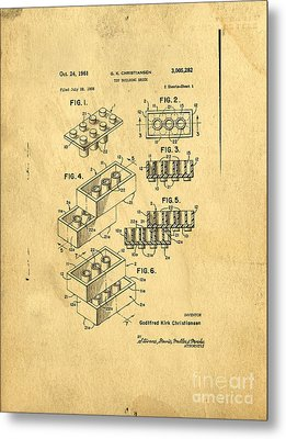 Original Us Patent For Lego Metal Print by Edward Fielding