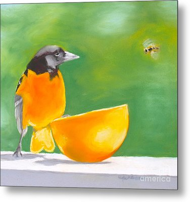 Oriole And The Orange Metal Print by Faythe Mills