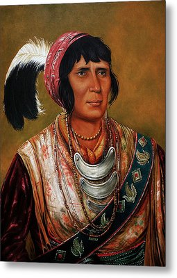 Osceola The Black Drink A Warrior Of Great Distinction By John Travisano After George Catlin Metal Print by John Travisano