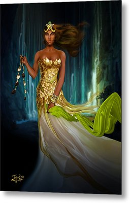 Oshun Behind The Falls Metal Print by Ismail Ghafoor