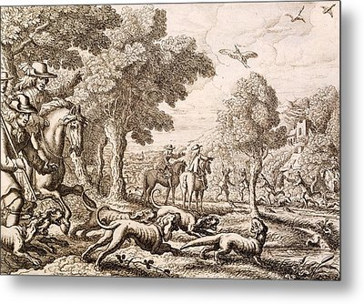 Otter Hunting By A River, Engraved Metal Print by Francis Barlow