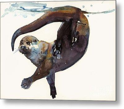 Otter Study II  Metal Print by Mark Adlington