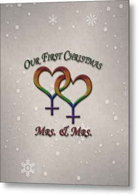 Our First Christmas Lesbian Pride Metal Print by Tavia Starfire