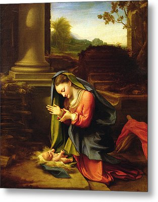 Our Lady Worshipping The Child Metal Print by Correggio