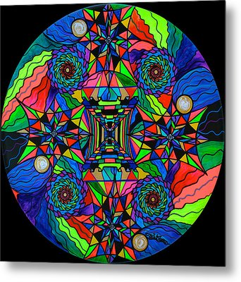 Out Of Body Activation Grid Metal Print by Teal Eye  Print Store