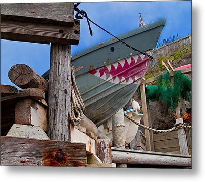 Out Of The Water - There's A Shark Metal Print by Bill Gallagher