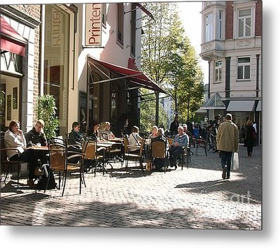 Outdoor Cafe Aachen Germany Metal Print by Anthony Morretta